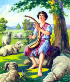 David plays harp as tending sheep